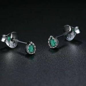 Sterling Silver 925 CZ Green Stud Earrings